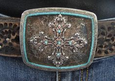 Turquoise and Crosses Belt Buckle by BuckleXpressions on Etsy, $65.00
