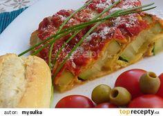 Zapečená cuketa s mozzarellou recept - TopRecepty.cz Okra, Mozzarella, Pesto, Baked Potato, Zucchini, French Toast, Potatoes, Treats, Baking