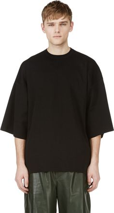 Juun.J - Black Knit Oversize Numbered Jersey Shirt | SSENSE