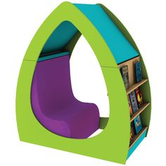 Our fabulously funky Leaf Reading Cocoon is a cosy space for children to lose themselves in a book or a chance for distraction-free one-to-one time between pupil and teacher. Kids Library, Library Design, Creative Kids Rooms, Playroom Storage, Home Room Design, Display Shelves, House Rooms, Wooden Toys, Best Sellers