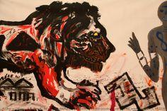 A. R. Penck, né en 1939, Dialog mit dem synthetischen Leo zwecks Theorie..., 1982, donation Michael Werner, musée d'Art moderne de la Ville de Paris