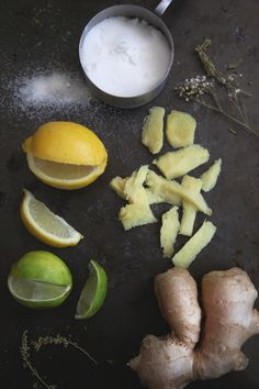 Homemade Ginger Ale  1 cup fresh ginger, peeled and sliced    1 cup sugar    2 cups water    club soda    lemon and lime juice    mint