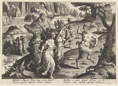 Jan Collaert (II)   Vrouwen verjagen een sater, Jan Collaert (II), Philips Galle, Cornelis Kiliaan, 1594 - 1598   Een slapende sater wordt in een grot door dorpelingen gevonden. De vrouwen jagen het boswezen met wapens weg. De prent heeft een Latijns onderschrift en is deel van een serie over jachttaferelen.