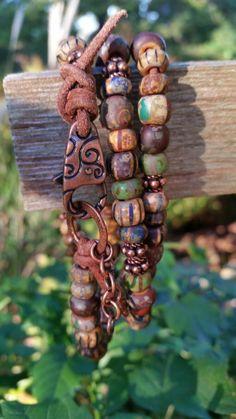 Rustic Jewelry, Copper Jewelry, Leather Jewelry, Beaded Jewelry, Beaded Bracelets, Western Jewelry, Leather Bracelets, Wire Jewelry, Handmade Jewelry