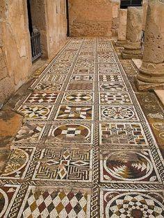 Mosaic floors, Villa of Silene, Leptis Magna, Libya: