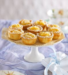 Lemon and lime curd tarts: set on a cake stand, these little tarts look as pretty as a picture!