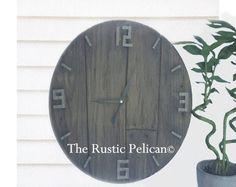 Reclaimed wood styleClock Large Wall Clock Farmhouse Decor