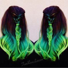 """Lizzy Neon green color melt by Toni Rose Larson @colordollzbytoni #pravana #hotonbeauty"""
