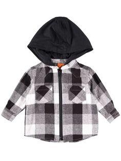 Boys Check Zip Shirt With Hood