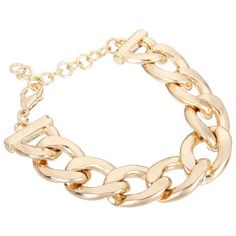 Yoins Golden Curb Chain Bracelet-Gold (5.48 AUD) ❤ liked on Polyvore