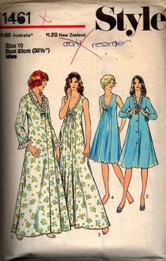 Style 1461 Womens Negligee & Nightgown Vintage Sewing pattern Vintage Dress Patterns, Skirt Patterns Sewing, Vintage Dresses, Vintage Outfits, Marfy Patterns, Skirt Sewing, Vintage Nightgown, Nightgown Pattern, Wrap Around Skirt