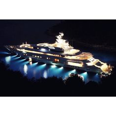 Pelorus by night. Built by Lurssen and designed by Tim Heywood