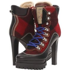 DSQUARED2 Lace-Up Heeled Winter Boot (Black/Red) Women's Lace-up Boots