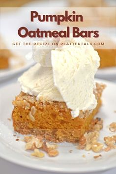 Bake this simple recipe for dessert bars with oatmeal and pumpkin. Follow our boards for a many other great food ideas!