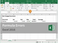 Microsoft Excel 2016 CustomGuide - Formula Errors. Tutorial. Interactive Training. Course.