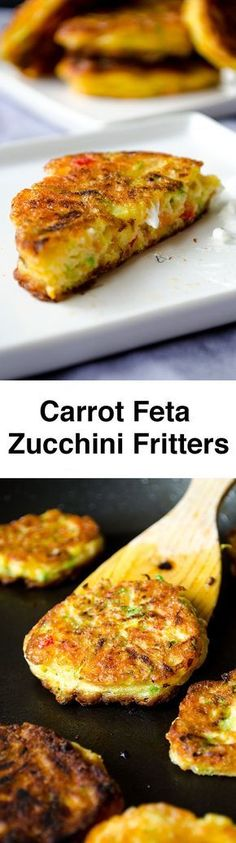 Zucchini fritters with carrot, red bell pepper and feta. A great twist on classic zucchini fritters. A perfect party food recipe! You can even make vegetarian burgers with these.