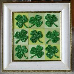 Add a little glam to your crafts with glitter shamrocks.