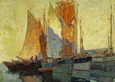 Edgar Payne (USA 1883-1947) Brittany Boats oil on canvas