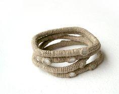 #burlap #twine #dotty #set #stacked #bracelets #primitive #rustic