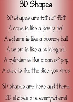 Let's wax lyrical about 3D shapes!                                                                                                                                                                                 More