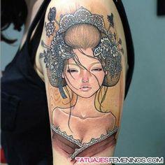 tatuajes pin up en el hombro para mujeres 2