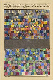 """Paul KLEE (1879-1940), Jadis surgit du gris de la nuit, 1916-1918 - Outre les signatures et les titres, Klee, à partir de 1916, a intégré à l'intérieur de la composition des lettres isolées, et des mots. Cette exploration se radicalise en 1938 avec la série des alphabets. Entre 16 et 18 le peintre crée des """"tableaux-poèmes"""" comme celui-ci."""