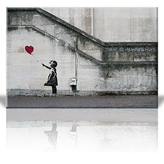 Canvas Print Wall Art - There is always hope - Girl and red heart balloon - Street Art - Guerilla - Banksy Street Artwork on Canvas Stretched Gallery Wrap. Ready to Hang - 24 x 36 inches Banksy Graffiti, Graffiti Wall Art, Banksy Artwork, Gustav Klimt, Canvas Wall Decor, Wall Art Decor, Diy Canvas, Room Decor, Artwork Prints
