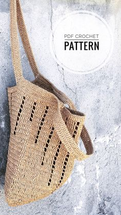 Diy Crochet Bag, Crochet Market Bag, Crochet Crafts, Crochet Hook Sizes, Crochet Hooks, Crochet Shoulder Bags, Bag Pattern Free, Crochet Handbags, Knitted Bags