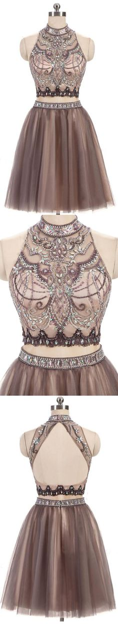 f6cc1b2a02a9c Gorgeous beading homecoming dress, two piece prom dress, junior homecoming  dress, short homecoming
