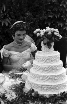 Jacqueline Kennedy on her wedding day, Newport, R.I., Sept. 12, 1953.