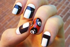 8 ball, white and Black nails Pedicure Colors, Pedicure Designs, Toe Nail Designs, Ring Finger Nails, Purple Nail Art, Geometric Nail, Nail Blog, White Nails, Black Nails