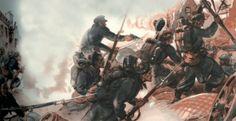 Au cours de cet ultime assaut allemand, les combats se déroulent souvent au corps à corps, comme le montre cette illustration de Raoul Auger parue dans La Merveilleuse Histoire de l'armée française en 1947 aux Éditions G.P. Collection particulière.