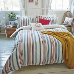Joules Bath Stripe in Fashion Duvet Covers at Seymour's Home Striped Bedding, Linen Bedding, Tribal Bedroom, Bedroom Styles, Bedroom Ideas, Buy Bed, Bed Linen Sets, Joules, Luxury Bedding
