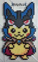 Pikachu in a Mega Lucario Hoodie by PerlerPixie