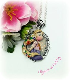 """Necklace with cameo """"Rapunzel"""", polymer clay"""