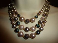 vtg  costume necklace Signed JAPAN. 3 strands 2 tone Faux pearls  beads