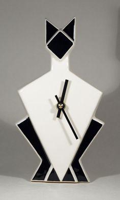 Art Deco Echo Of Deco Cat Wall Clock #artdeco