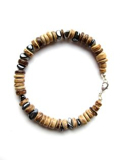 Men's beaded bracelet  hematite bracelet for men  von AuthenticMen,