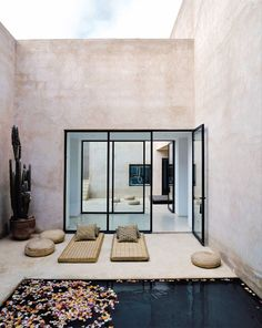 Maison Palmeraie // Marrakech, Marocco - designed by architect Helena Marczewski and Belgian interior designer Esther Gutmer Outdoor Rooms, Outdoor Living, Indoor Outdoor, Outdoor Yoga, Outdoor Furniture, Exterior Design, Interior And Exterior, Design Hotel, House Design