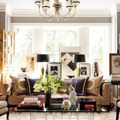 Find home décor inspiration at Architectural Digest. Everything you'll need to design each and every room in your house, from the kitchen to the master suite. Eclectic Living Room, Living Room Grey, Home Living Room, Apartment Living, Living Room Designs, Living Spaces, Penthouse Apartment, City Living, Architectural Digest