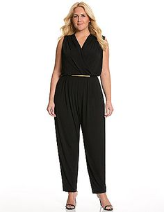 The jumpsuit trend continues its day in the sun, with easy-wearing comfort and convenient single piece styling that's versatile enough for any occasion. The sleeveless number really accentuates your positives with a curve-loving surplice neckline and defined-waist silhouette, plus a flirty keyhole back detail. A gold tone belt completes the look with a pop of hardware shine. Pull-on style with double button closure.  lanebryant.com