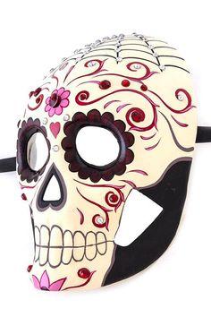 Day of the Dead Mask, full skull mask, sugar skull, Skull Mask, costume mask, party mask, halloween mask, painted crystal stud mask by Scarlettaa on Etsy https://www.etsy.com/listing/259967349/day-of-the-dead-mask-full-skull-mask