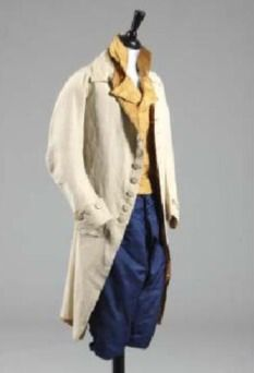 Kerry Taylor Auctions: The coat is made of ivory silk and is lined in mustard twill silk, and dates from 1780-90. The waistcoat is made of striped orange silk, and is double-breasted and has mother-of-pearl buttons. The breeches are made of sapphire blue silk and date from 1760-1770. This ensemble has a sale estimate of £1000-1500.