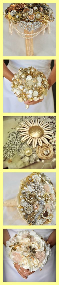 Gold bouquets by Blue Petyl #gold #wedding #bouquet