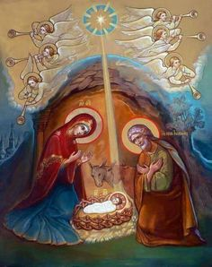 Christmas Day, New Child was born! Come let us sing with angel horn. Religious Images, Religious Icons, Religious Art, Christmas Messages, Christmas Icons, Greek Icons, Jesus Art, Byzantine Icons, Mary And Jesus