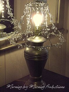 Morning by Morning Productions: A Chandelier Style Skeleton Lampshade-crystals Chandelier Lamp Shades, Old Lamp Shades, Rustic Lamp Shades, Beaded Chandelier, Chandeliers, Tall Lamps, Lampshades, Burlap Lampshade, Decoration