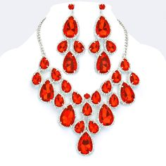 f78dca917 Ruby Red Crystal Rhinestone Formal Wedding Bridal Prom Party Pageant Bridesmaid  Evening Teardrop Cluster Necklace Earrings Set Elegant Costume Jewelry
