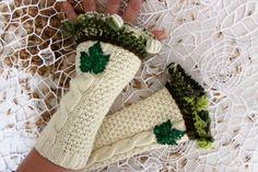 Cream gloves, Green handmade gloves, fingerless gloves cream, cream arm warmers, gloves green sequins, unique gloves, Christmas gifts