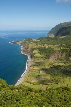 View on Fajazinha village. West coast of Flores. Portugal