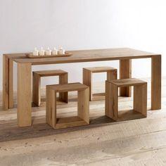 mesa madera Naxo Oak Table, Dinning Table, Mesa Tulip, Diy Furniture, Furniture Design, Interior Decorating, Interior Design, Contemporary Interior, Alter